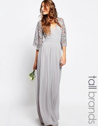Maya Tall Wrap Front Pleated Maxi Dress With Lace Sleeve Grey