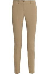 Michael Kors Collection Samantha Stretch Wool Gabardine Slim Leg Pants Sand