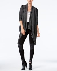 Bar Iii Faux Leather Inset Waterfall Cardigan Only At Macy's Black Combo