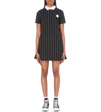 Chocoolate Badge Detail Pinstriped Jersey Dress Black Pinstripe