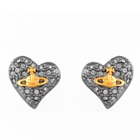 Vivienne Westwood Jewellery Women's Tiny Diamante Heart Stud Earrings Black