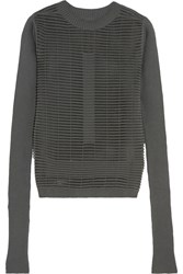 Rick Owens Cotton Blend Mesh And Ribbed Knit Sweater Green