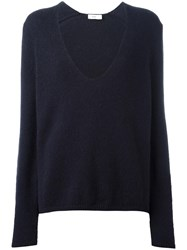 Closed V Neck Jumper Blue