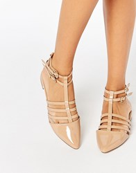 Asos Los Angeles Pointed Caged Ballet Flats Nude Beige