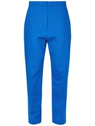 Jaeger Patch Pocket Cropped Trousers Bright Blue