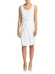Jones New York Belted Cross Pleat Sheath Dress