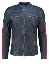 Freaky Nation Imola Leather Jacket Navy Red Dark Blue