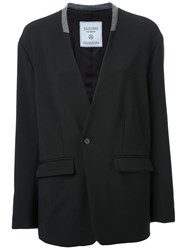 Fad Three Collarless Blazer Jacket Black