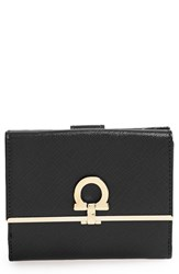 Women's Salvatore Ferragamo 'French Icona' Saffiano Calfskin Leather Wallet Black Nero