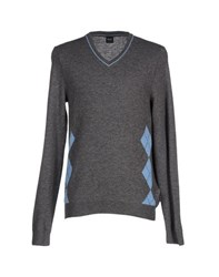 Boss Black Knitwear Jumpers Men Grey
