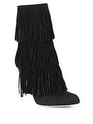 Paul Andrew Layered Fringe Point Toe Booties Black