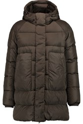 Add Quilted Shell Hooded Coat Green