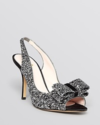 Kate Spade New York Open Toe Slingback Evening Pumps Charm High Heel Black Silver