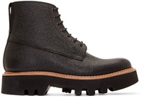Black Pebbled Leather Gideon Boots