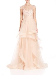 Teri Jon By Rickie Freeman Illusion Lace Asymmetrical Ball Gown Peach