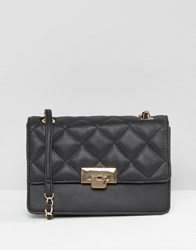 Asos Quilted Metal Lock Cross Body Bag Black