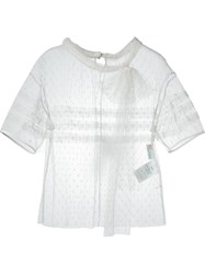 Red Valentino Tulle Sheer Blouse White