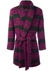 Massimo Piombo Mp Striped Belted Robe Coat Pink Purple