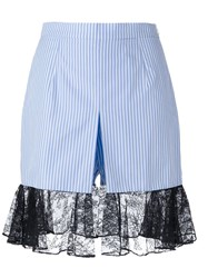 J.W.Anderson J.W. Anderson Pinstriped Lace Hem Shorts Blue