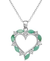 Victoria Townsend Sterling Silver Emerald 1 Ct. T.W. And White Topaz 1 4 Ct. T.W. Heart Pendant Necklace