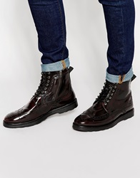 Asos Brogue Boots In Burgundy Leather With Wedge Sole Red