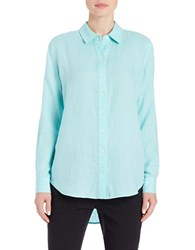 Lord And Taylor Linen Hi Low Casual Shirt Aqua Splash