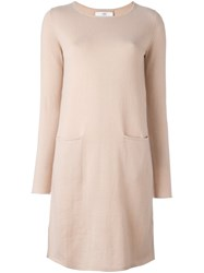 Allude Long Sleeved Shift Dress Nude Neutrals