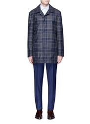 Isaia 'San Gennaro' Check Plaid Puffer Coat Multi Colour