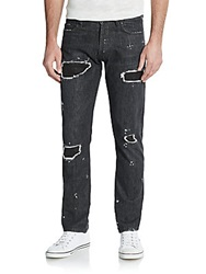 Slim Fit Distressed Jeans Break Black
