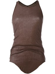 Rick Owens Curved Hem Tank Top Brown