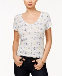 Maison Jules Anchor Print T Shirt Only At Macy's Bright White Combo