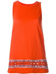Tory Burch Embroidered Hem Tank Top