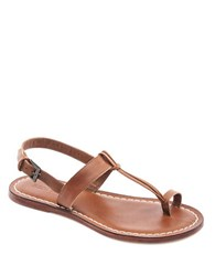 Bernardo Maverick Leather Toe Ring Sandals Luggage