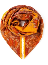 Yves Saint Laurent Vintage Paisley Print Scarf Yellow And Orange