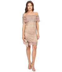 Only Granada Off The Shoulder Woven Lace Dress Warm Taupe Women's Dress Beige