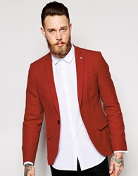 Noose And Monkey Cotton Blazer In Skinny Fit Red