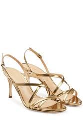 Sergio Rossi Leather Mid Heel Sandals Gold