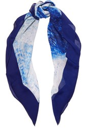 Halston Heritage Reflected Diamond Printed Silk Chiffon Scarf Blue