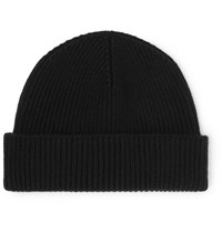 Margaret Howell Ribbed Wool And Cashmere Blend Beanie Black