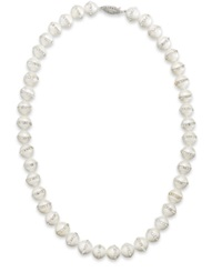 Macy's Sterling Silver Necklace Cultured Freshwater Pearl 10 11Mm And Crystal Halo Necklace