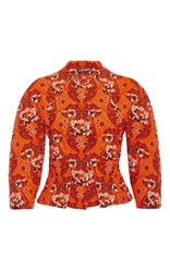 Zac Posen Bellflower Jacquard Peplum Jacket Orange
