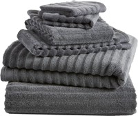 Cb2 6 Piece Channel Grey Cotton Bath Towel Set