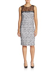 Teri Jon By Rickie Freeman Lace Illusion Top Sheath Dress Black White