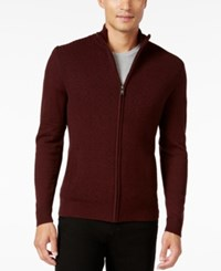 Alfani Men's Dash Line Full Zip Sweater Only At Macy's Port Heather Combo