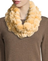 Adrienne Landau Rabbit Fur Pompom Infinity Scarf Honey