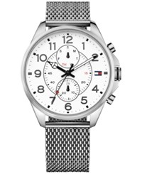 Tommy Hilfiger Men's Chronograph Casual Sport Stainless Steel Mesh Bracelet Watch 46Mm 1791277 Silver