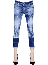 Dsquared Glam Rock Acid Wash Stretch Denim Jeans Blue White