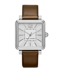 Marc Jacobs Leather And Silvertone Watch Brown