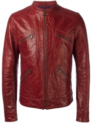 Dolce And Gabbana Leather Jacket Red