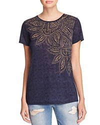 Chelsea And Theodore Burnout Printed Tee Compare At 38 Navy Gold Print